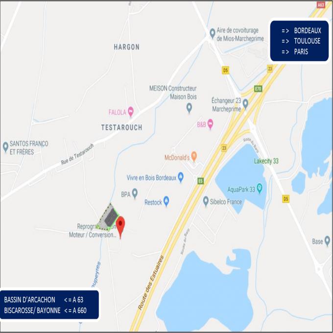 Location Immobilier Professionnel Entrepôt Mios (33380)
